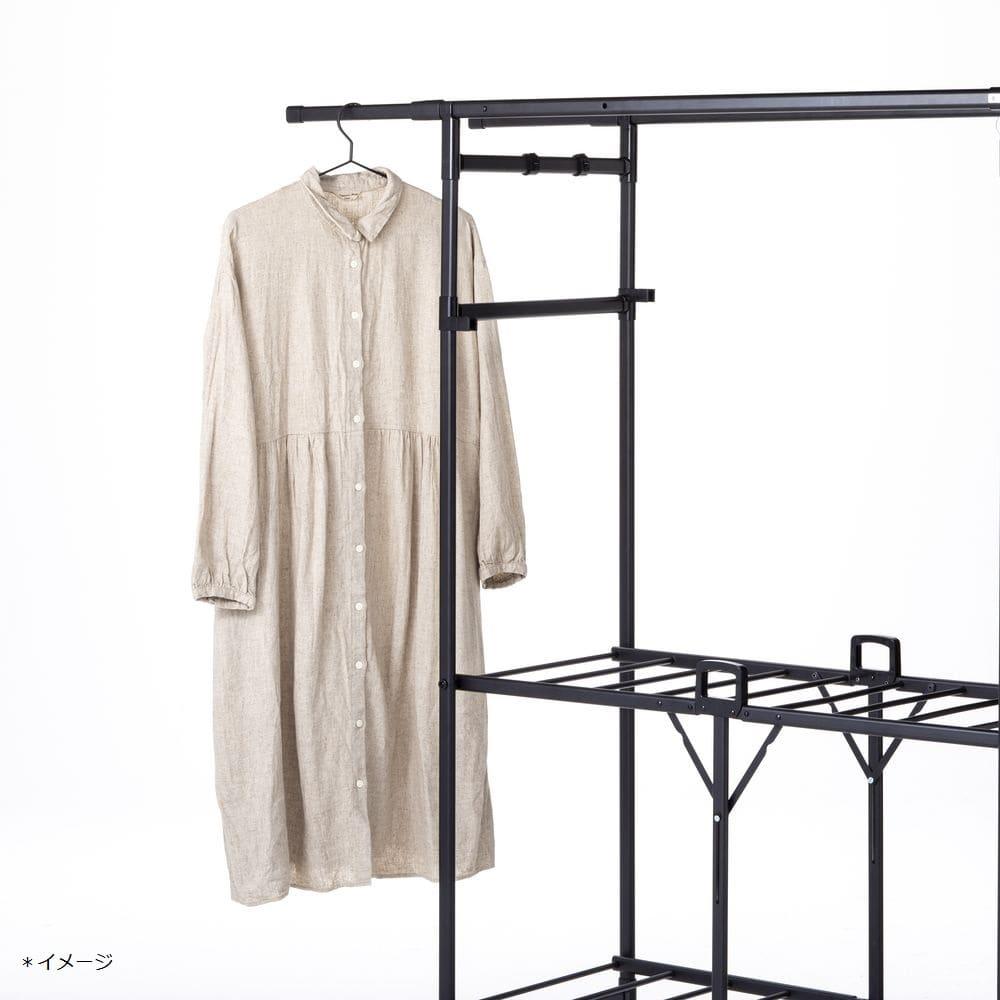 ロング丈も掛けられる折りたたみランドリーラックパタラン ブラック