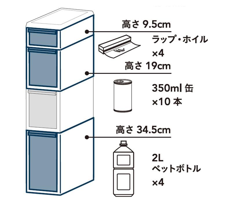 スリムすき間ストッカー4段セレクト ボトル<シート入り> 幅17cm