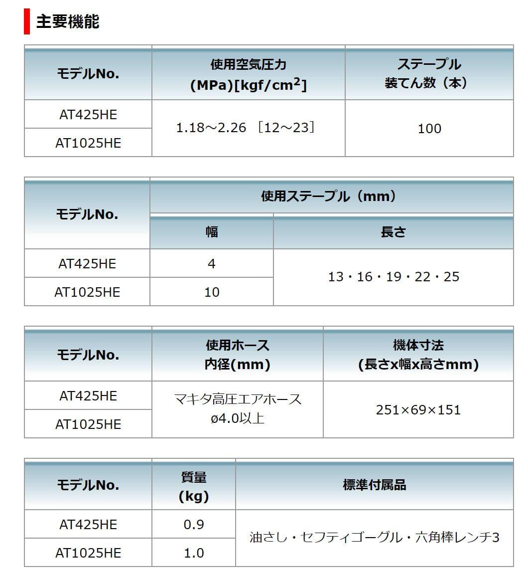 マキタ 高圧エアタッカ AT425HE