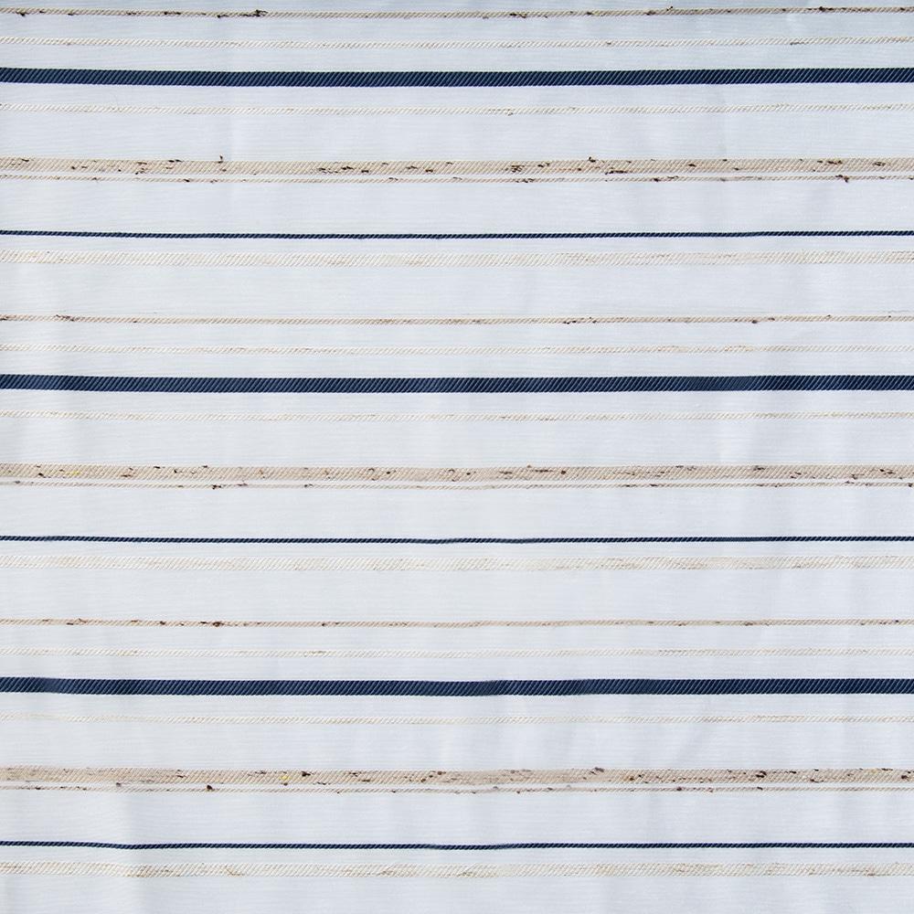 ボイルレースカーテンシンプルボーダー ブルー 100×175 2枚組