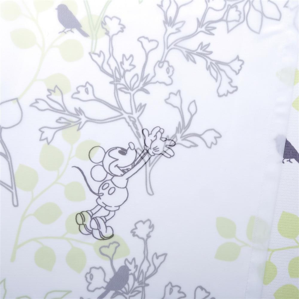 ディズニー レースカーテン ミッキーマウス グリーン 100×198cm 2枚組【別送品】