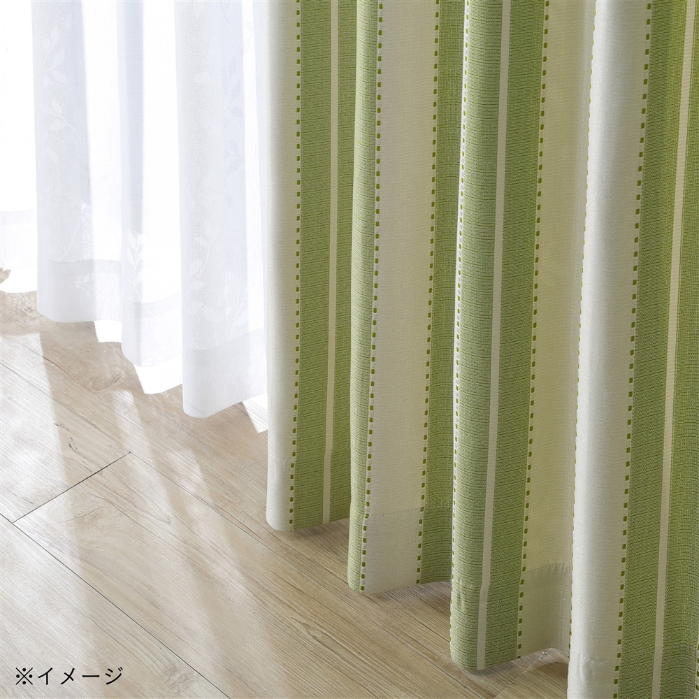 4枚組セットカーテン(遮光+ミラー)アルザストライプ 100×135cm