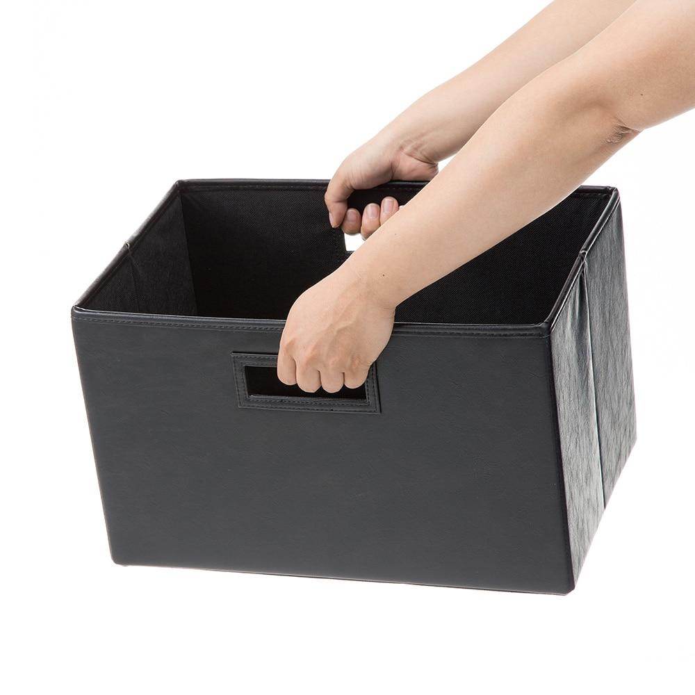 持ち運びしやすい折りたたみ収納ボックス レザー調ブラック