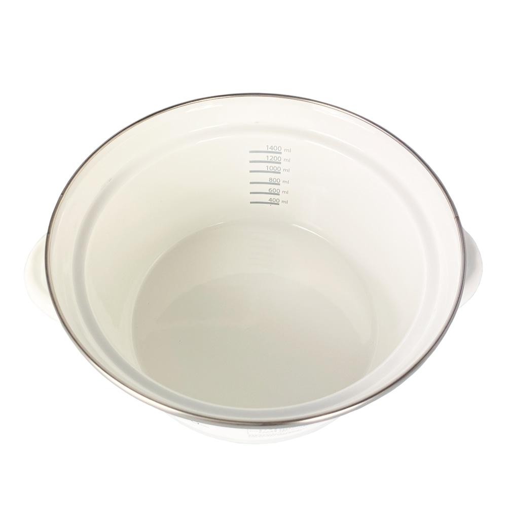 ふきこぼれにくいホーロー両手鍋 18cm ホワイト