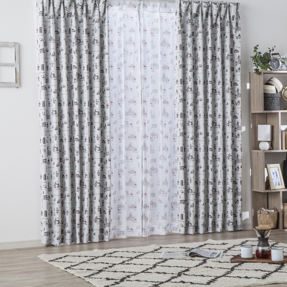 遮光性カーテン くまのプーさん/ロンドン 100×135cm 2枚組【別送品】