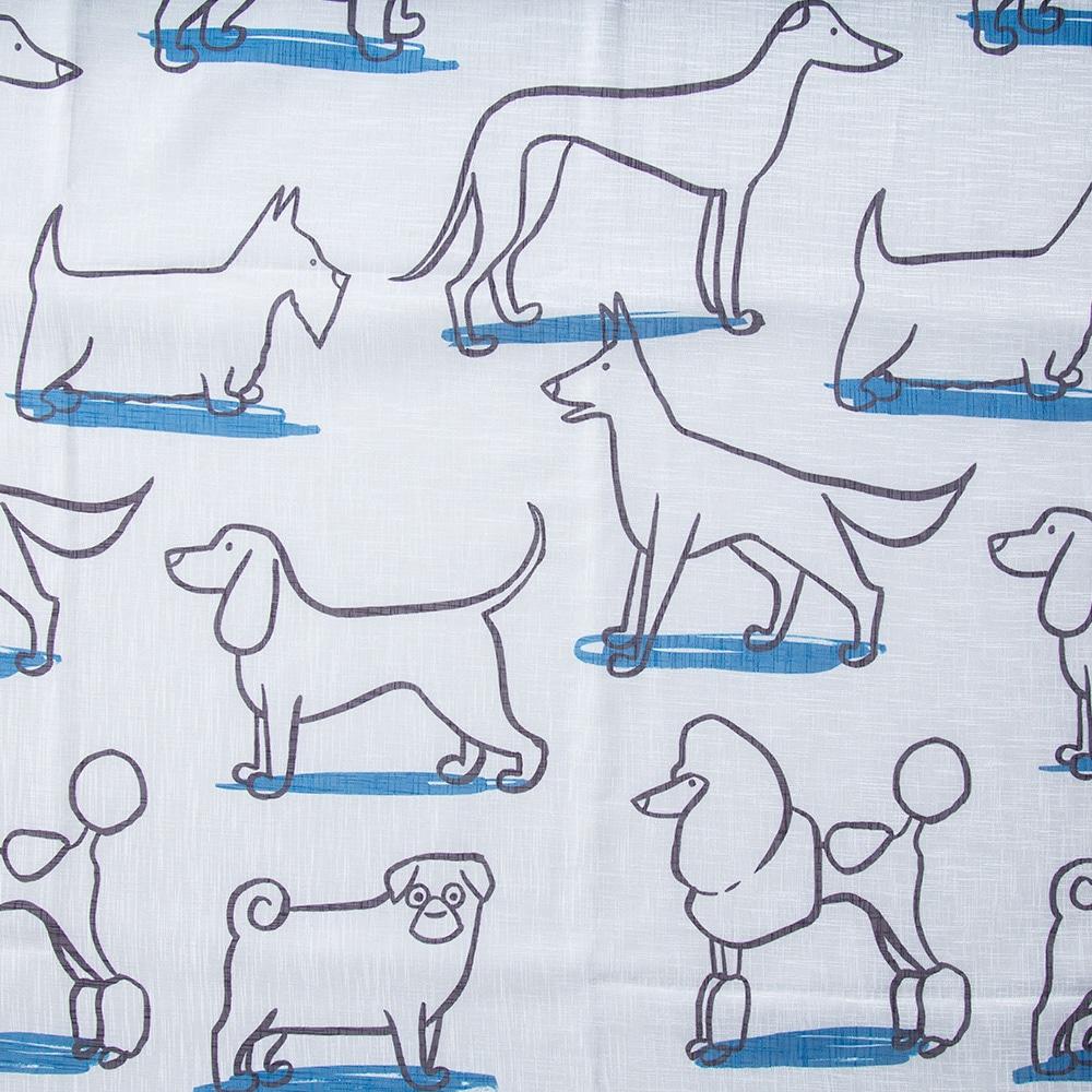 ボイルレースカーテン ドギー ブルー 100×175 2枚組