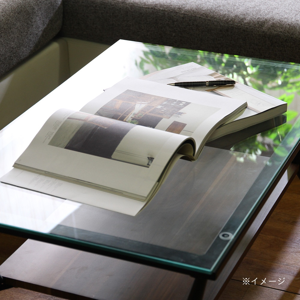 ガラスリビングテーブル クレア ダークブラウン