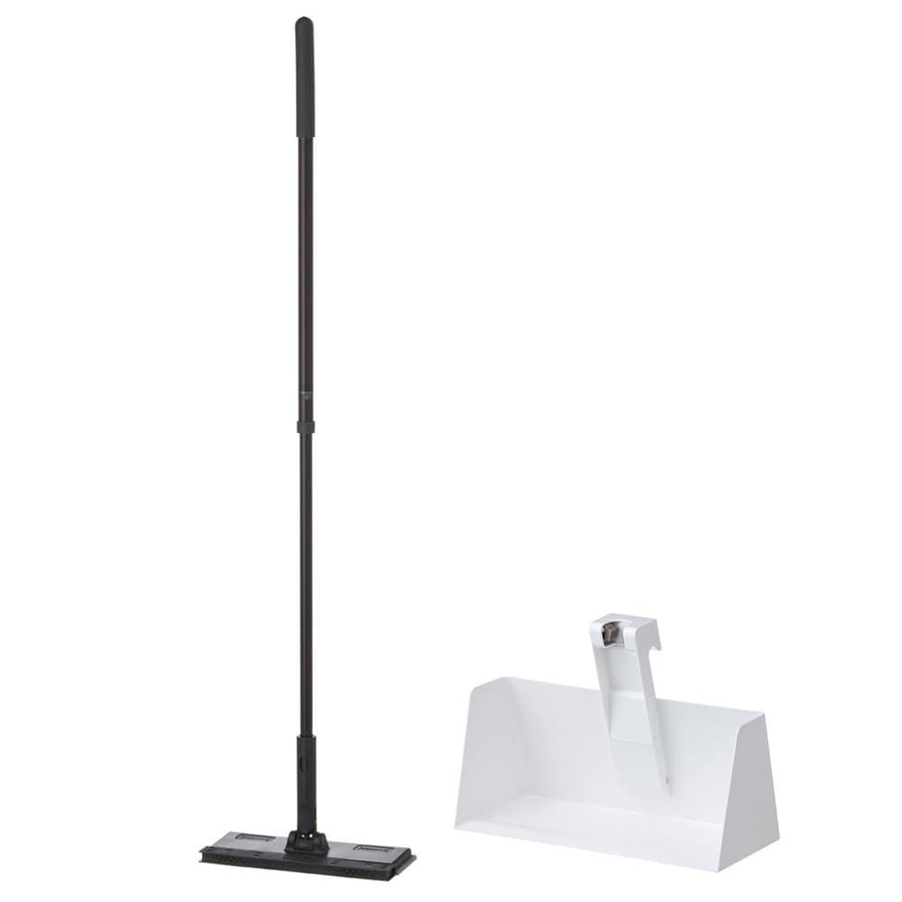【セット商品】立つフローリングワイパー(ブラック)+フローリングワイパー用スタンド(ホワイト)