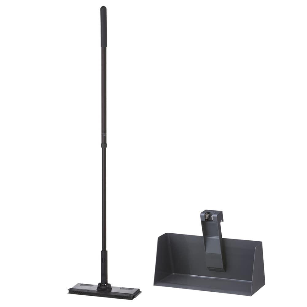 【セット商品】立つフローリングワイパー(ブラック)+フローリングワイパー用スタンド(グレー)