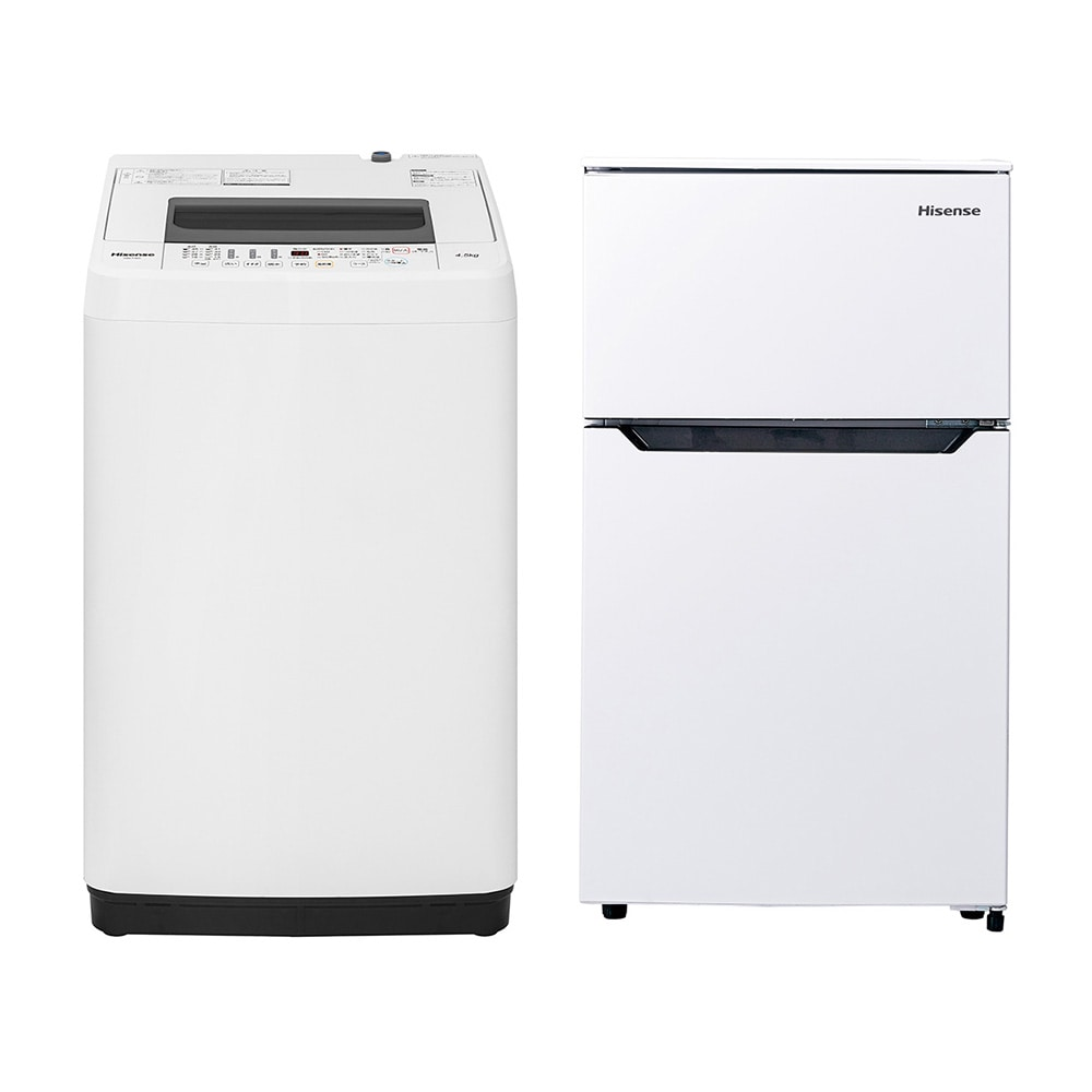 【セット商品】Hisense 全自動洗濯機 HW-T45C & 冷凍冷蔵庫 HR-B95A【別送品】【要注文コメント】
