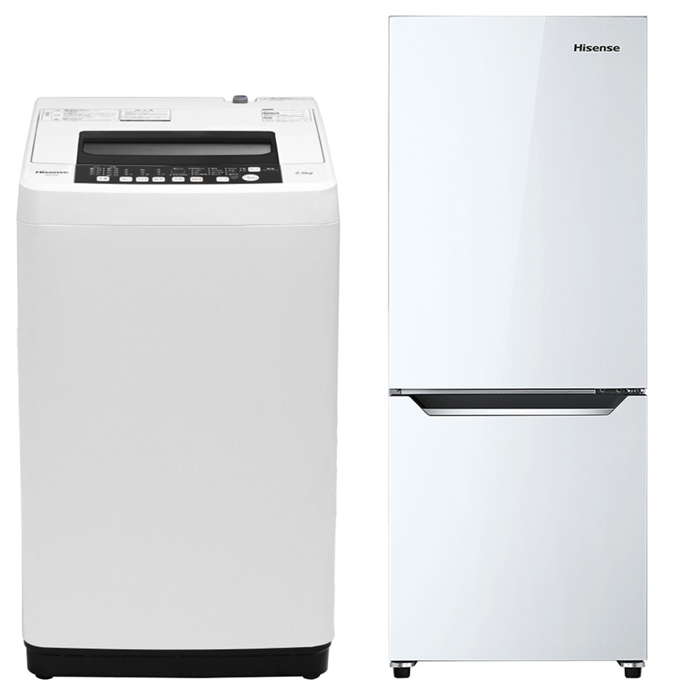 【セット商品】Hisense 全自動洗濯機 HW-T55C & 冷凍冷蔵庫 HR-D15C【別送品】【要注文コメント】