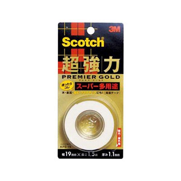 3M スコッチ(R) 超強力両面テープ プレミアゴールド(スーパー多用途) 19 1.5KPS-19