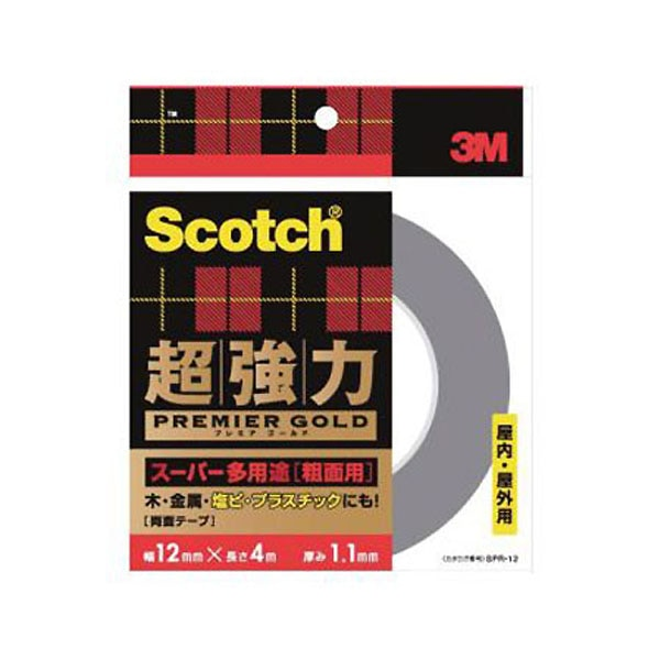 3M スコッチ(R) 超強力両面テープ プレミアゴールド(スーパー多用途) 粗面用 12 4SPR-12