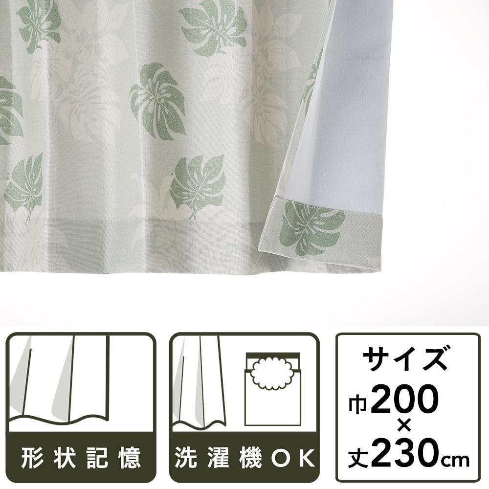 遮光性カーテン モンステラ グリーン 200×230 1枚入