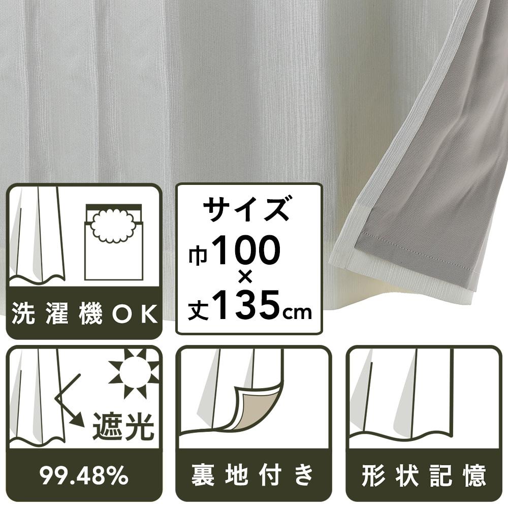裏地付きカーテン バーチ ホワイト 100×135 2枚組