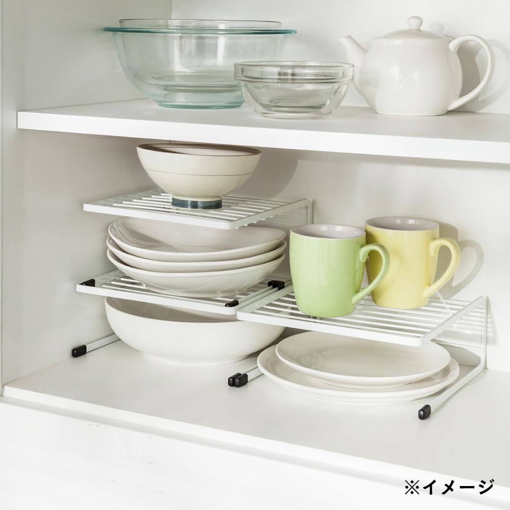 キッチンラック フライパン&皿ラック 2段