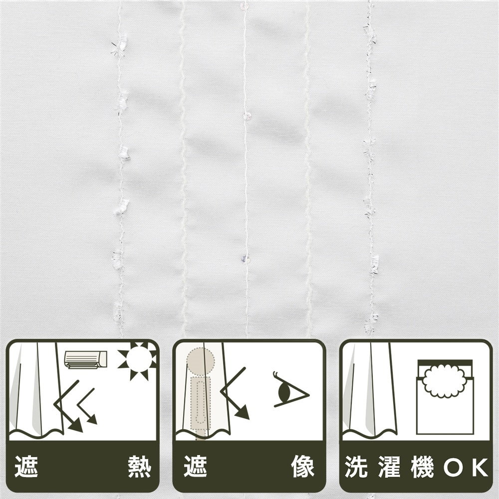 遮像遮熱レースカーテン シャイン 100×198 2枚組