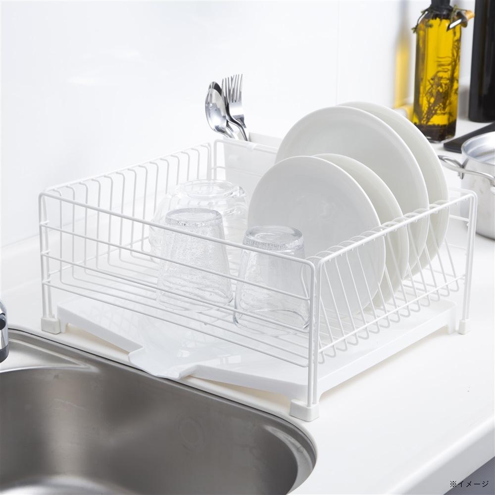 お手入れ簡単で水も流れる水切りカゴ トレイ付き