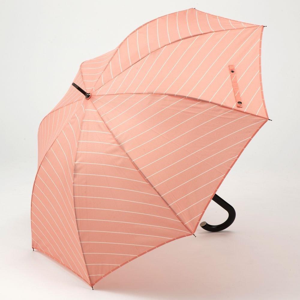 風に強いジャンプ傘 60cm ストライプ ピンク