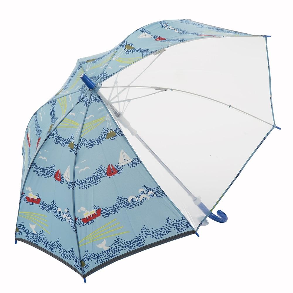風に強い視界安全学童傘 55cm ヨット ブルー