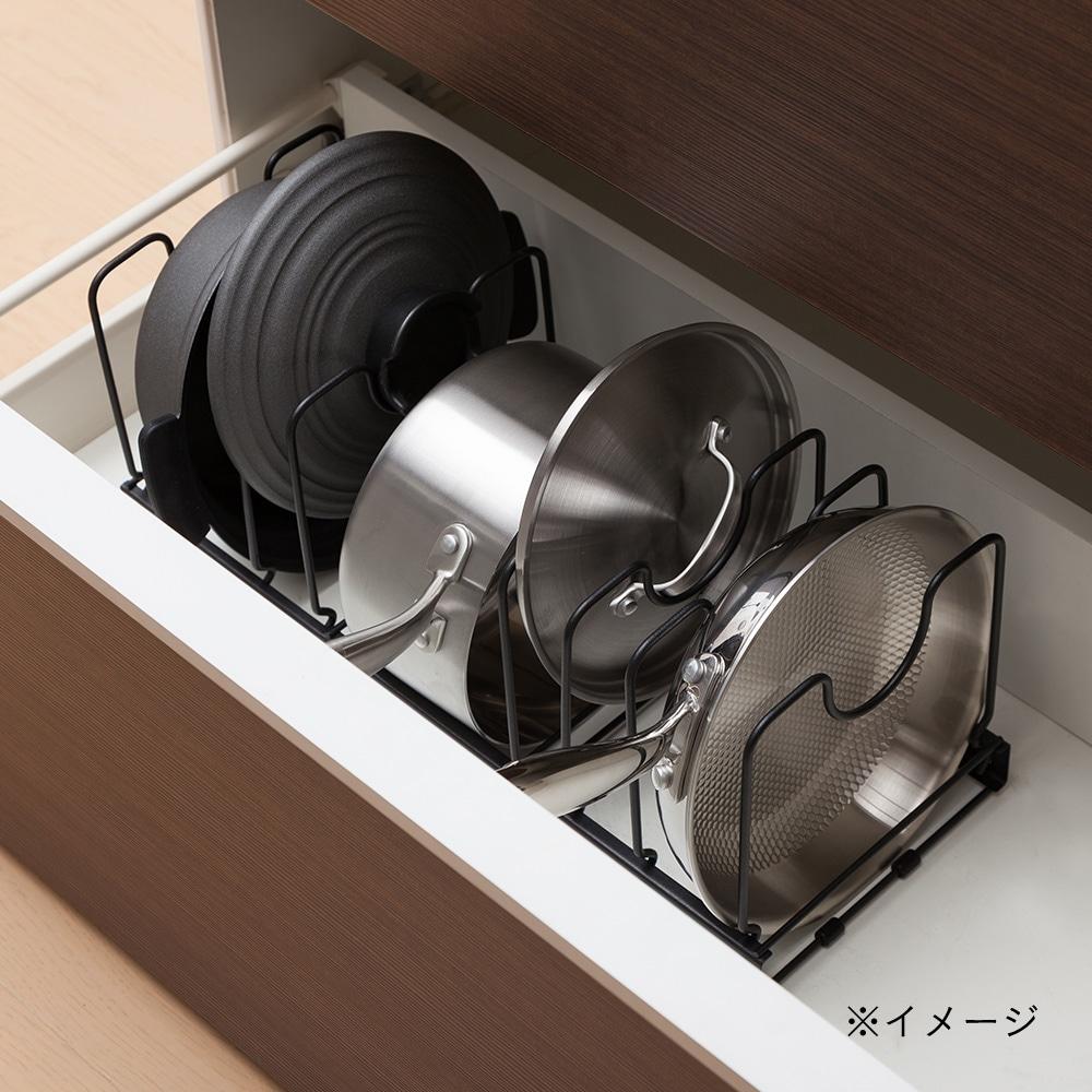 鍋・フライパン・ふた スタンド分離式 ブラック