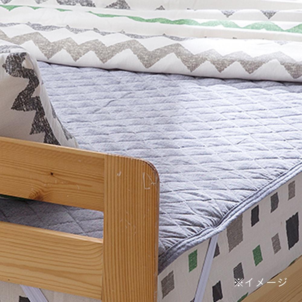 敷きパッド 綿麻 ネイビー セミダブル 120×200