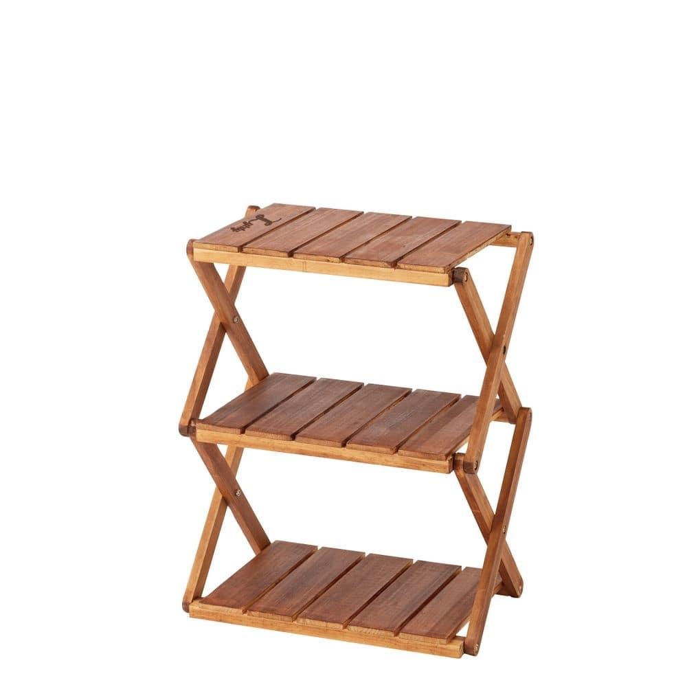 【数量限定】リフティー 木製折りたたみラック 3段