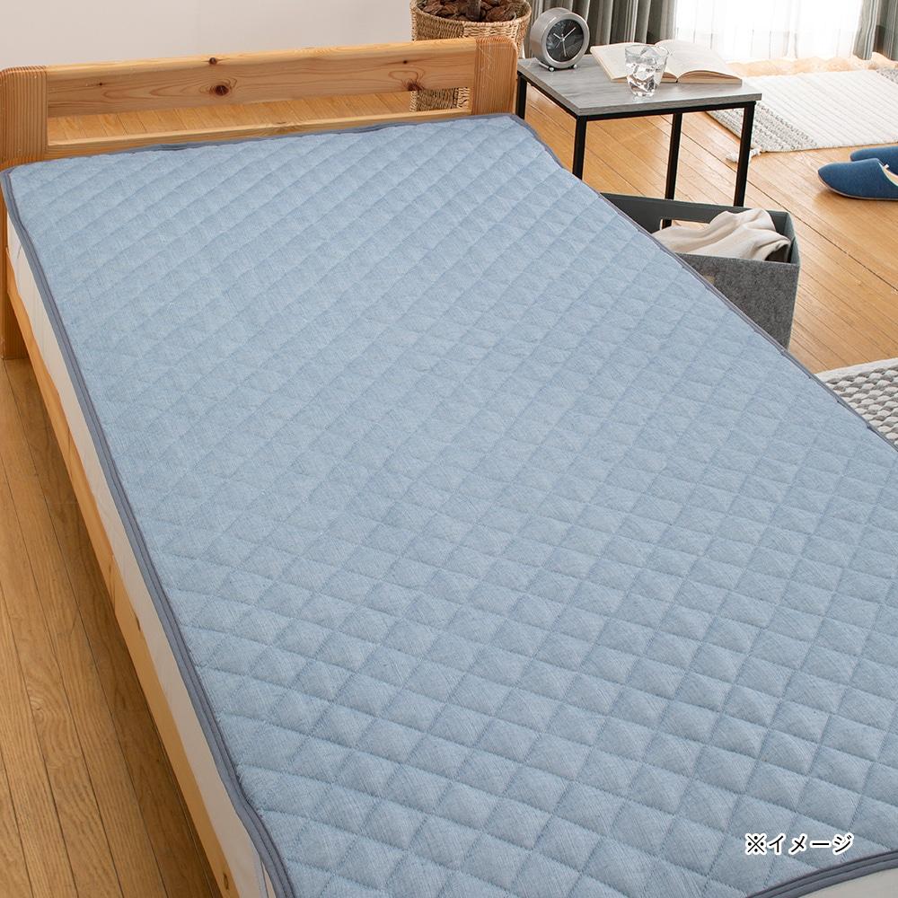 【2019春夏】さらっとふんわり敷きパッド シングル100×200 ブルー