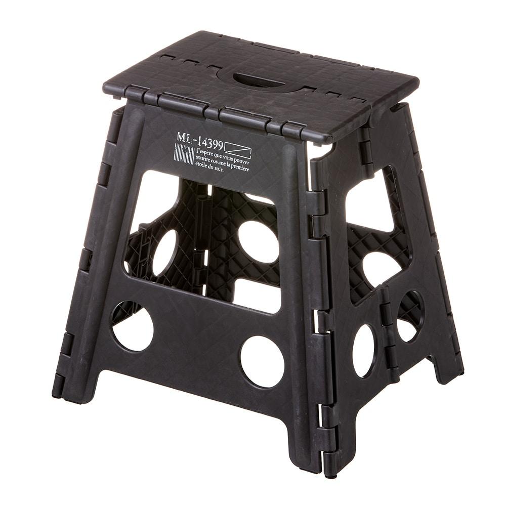 持ち運びしやすい折り畳み踏み台 ハイタイプ ブラック
