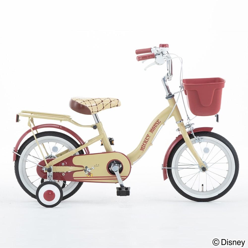 ディズニーデザインの幼児車 ミッキー 16インチ ベージュ