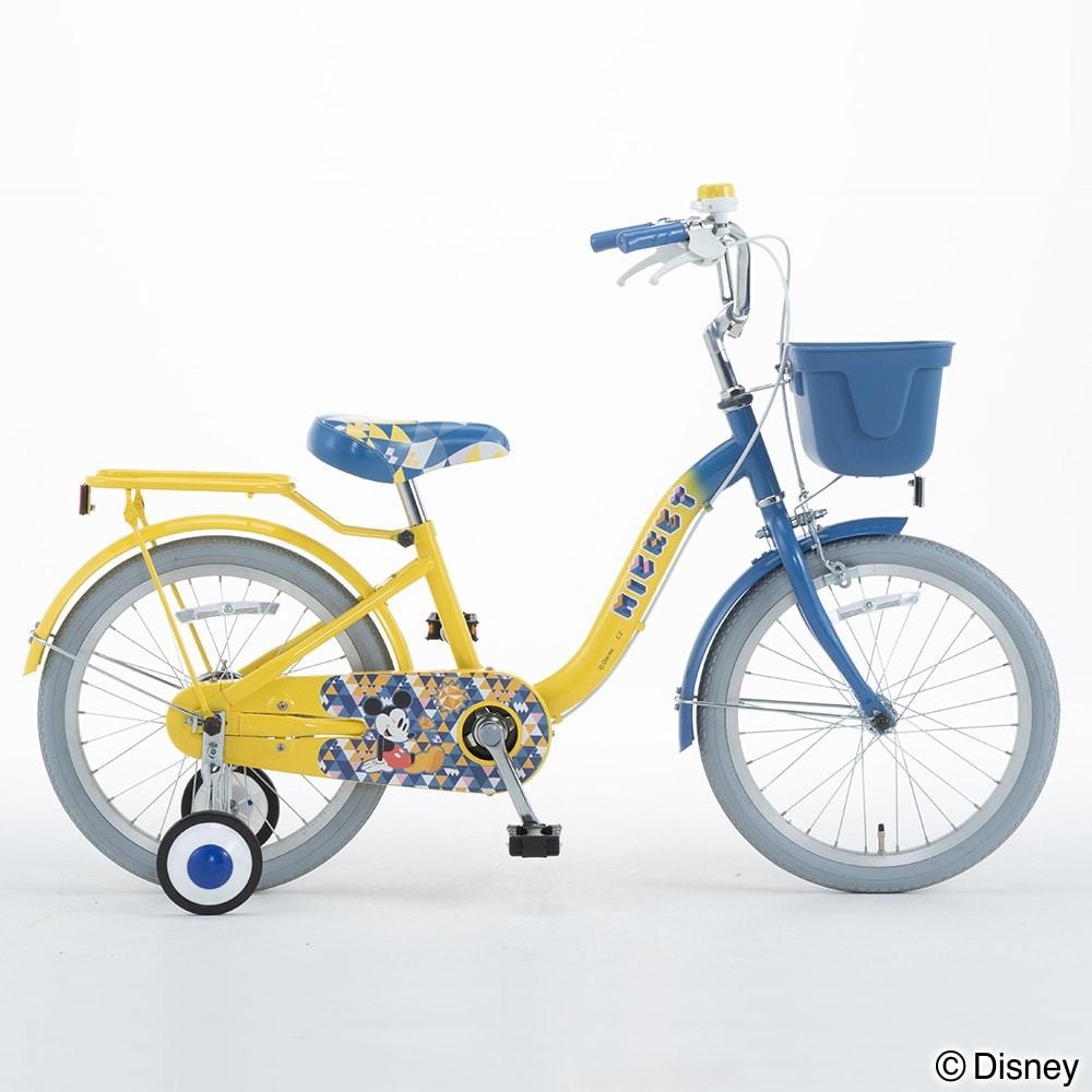 ディズニーデザインの幼児車 ミッキー 16インチ イエロー