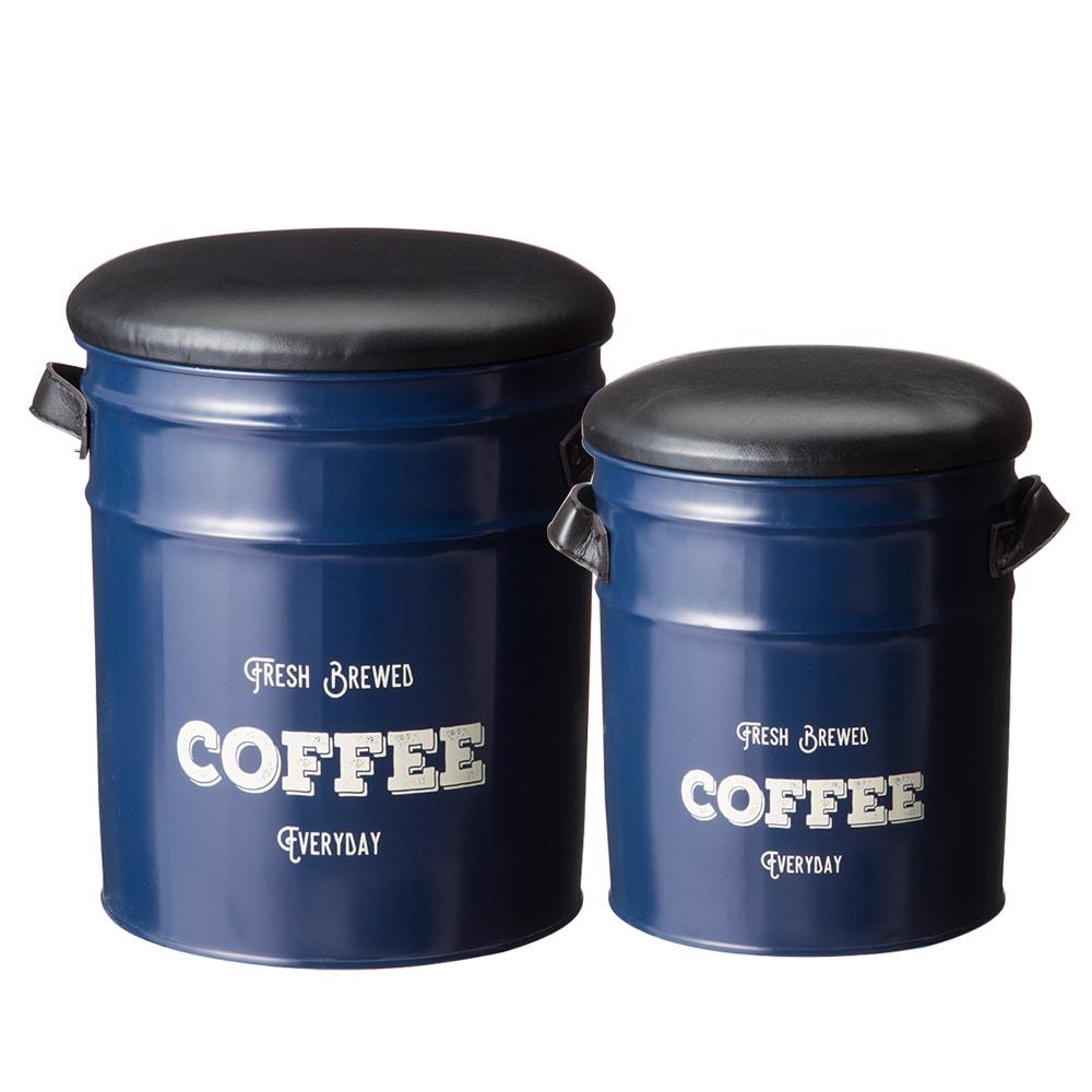 【数量限定】ペール缶収納スツール2個セット ネイビー