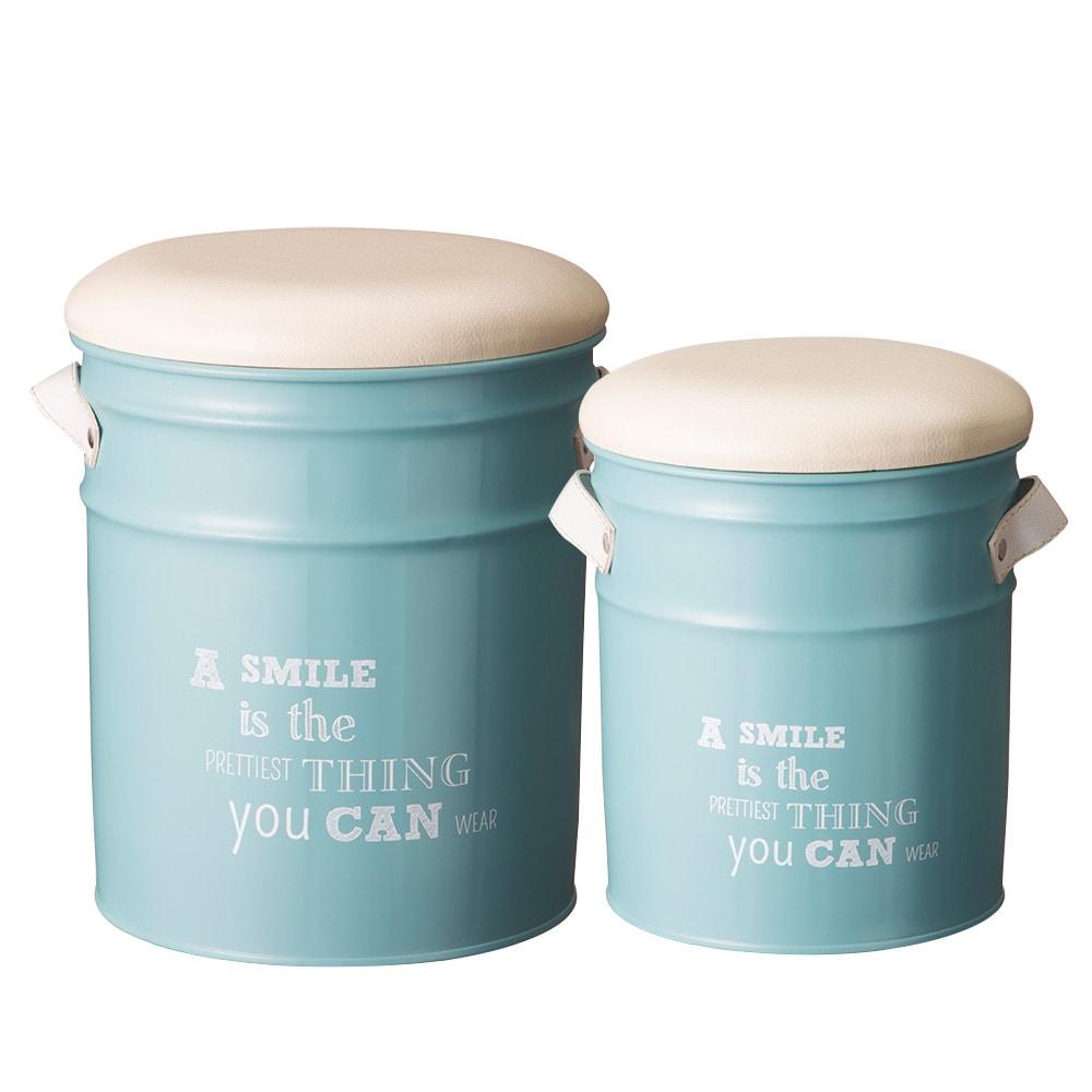 ペール缶収納スツール2個セット ブルー