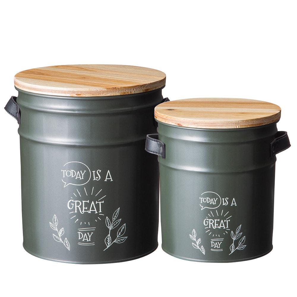ペール缶収納スツール2個セット ダークグリーン