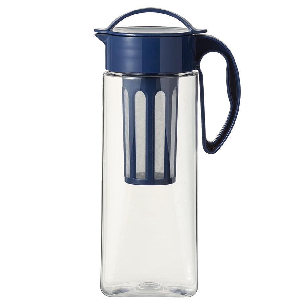 茶こし付き 縦にも横にも置ける冷水筒 2.1L ネイビー