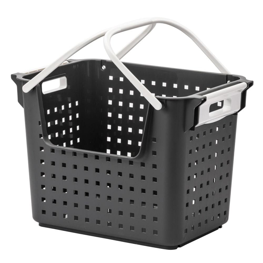 積み重ねても出し入れできるバスケット グレー
