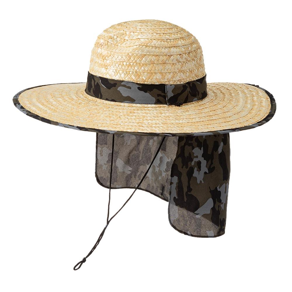 紳士日よけ付麦わら帽子(消臭糸使用) カモフラ