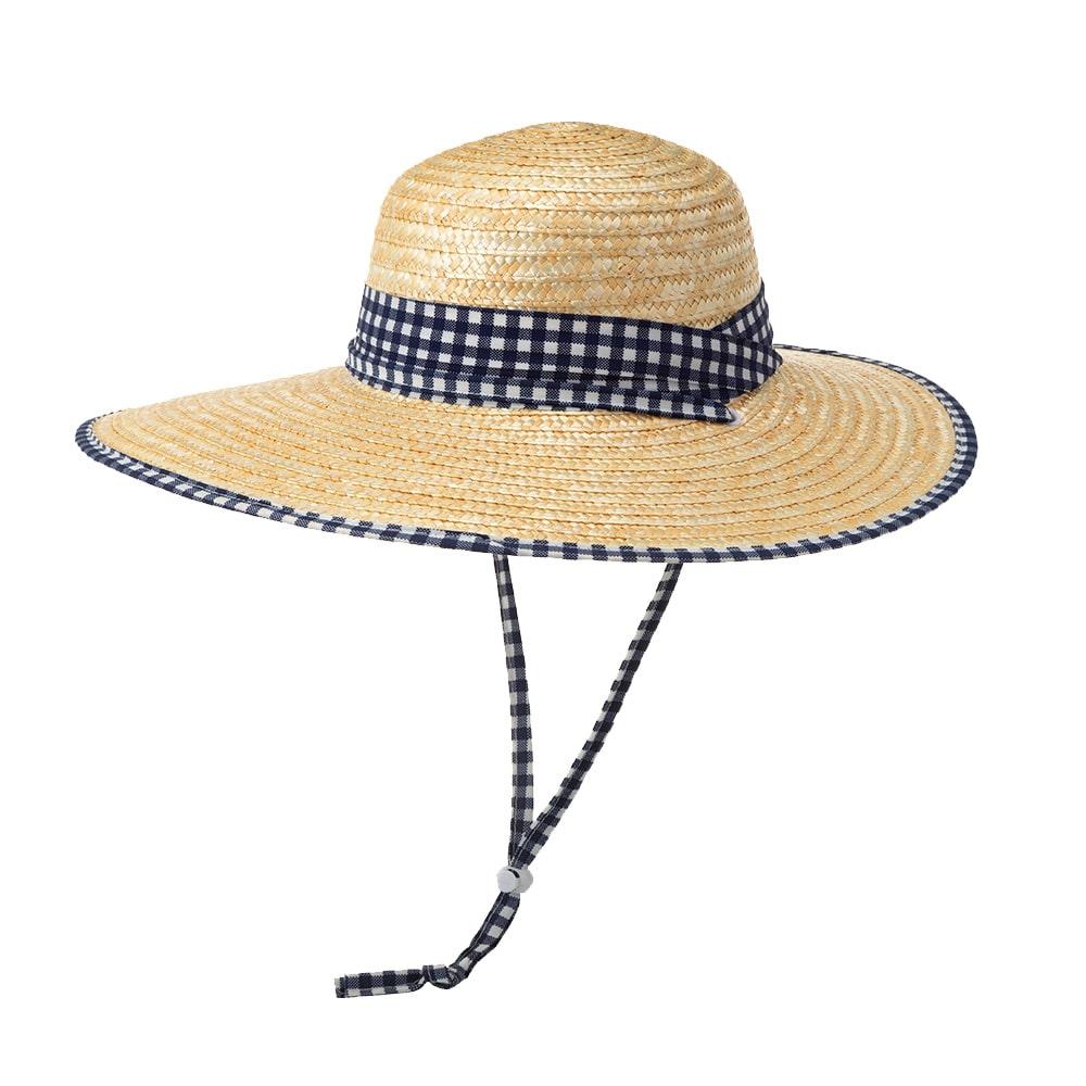 婦人麦わら帽子(消臭糸使用) ネイビーチェック