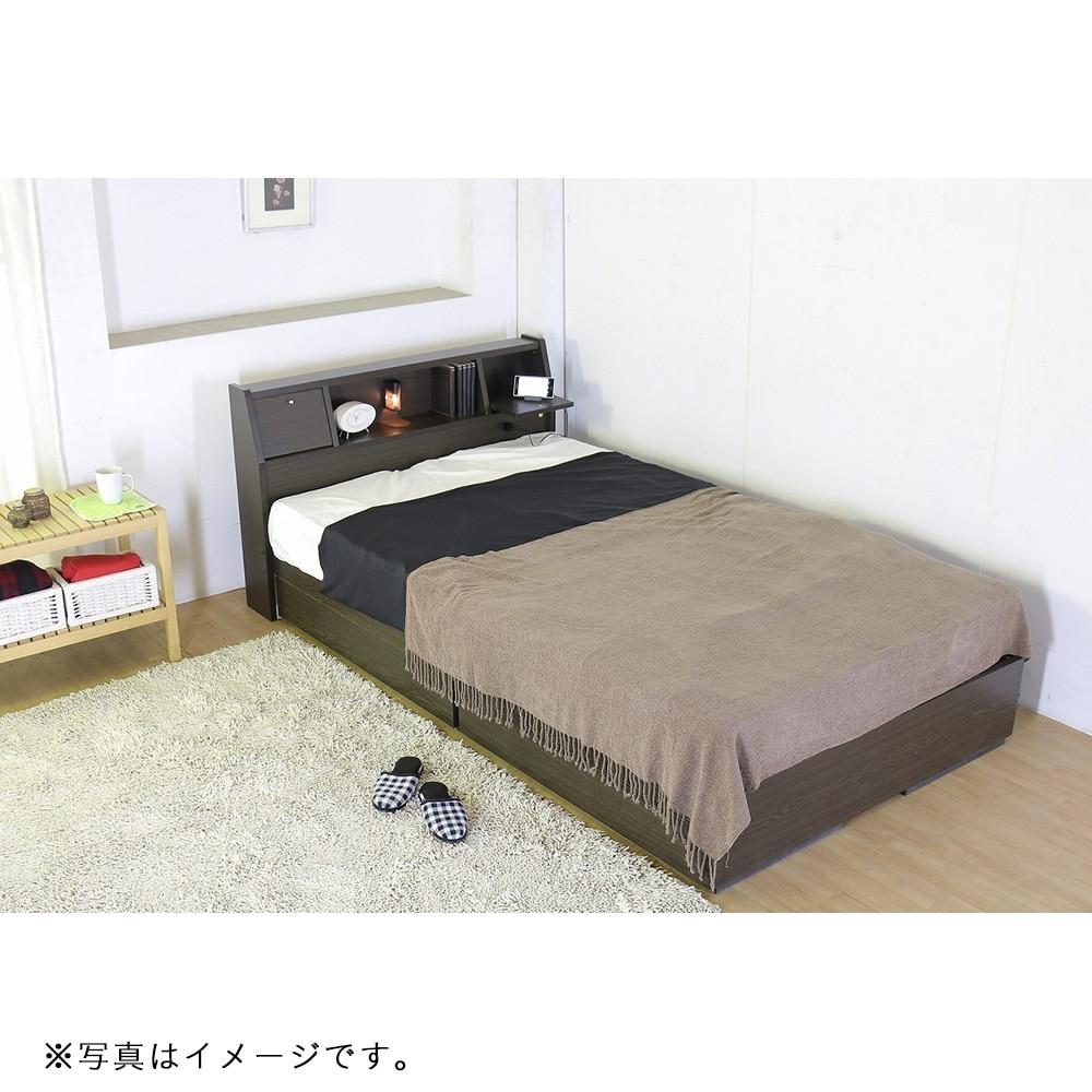 フラップテーブル付 多機能ベッド ボンネルコイルマットレス付 セミダブル ダークブラウン A333-56-SD 16324D【別送品】