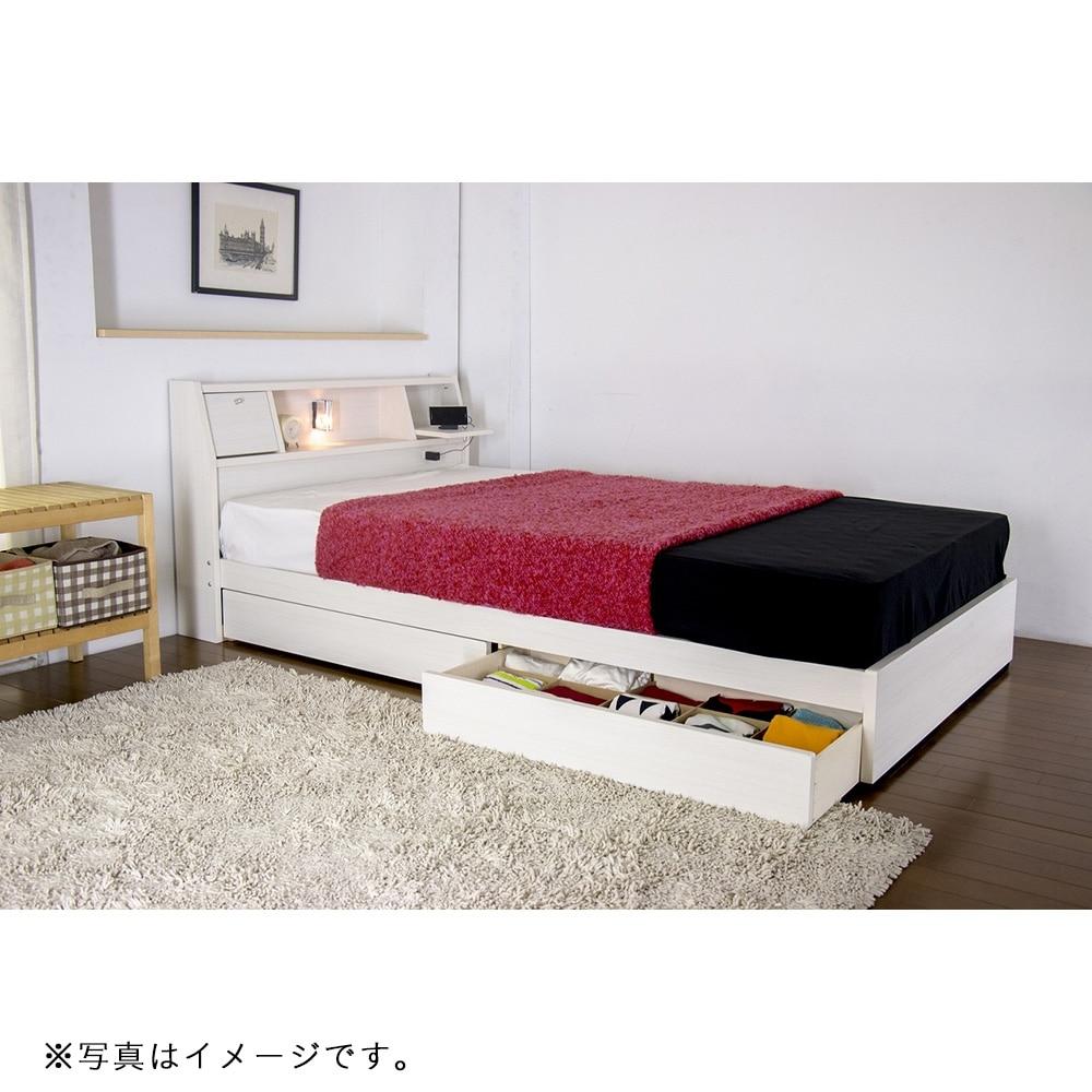 フラップテーブル付 多機能ベッド ボンネルコイルマットレス付 ダブル ホワイト A333-86-D 16324D【別送品】