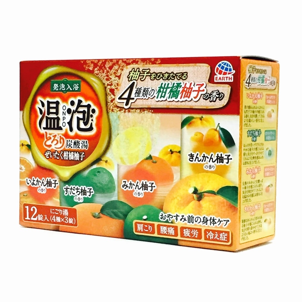 アース製薬 温泡 ONPO とろり炭酸湯 ぜいたく柑橘柚子 12錠入