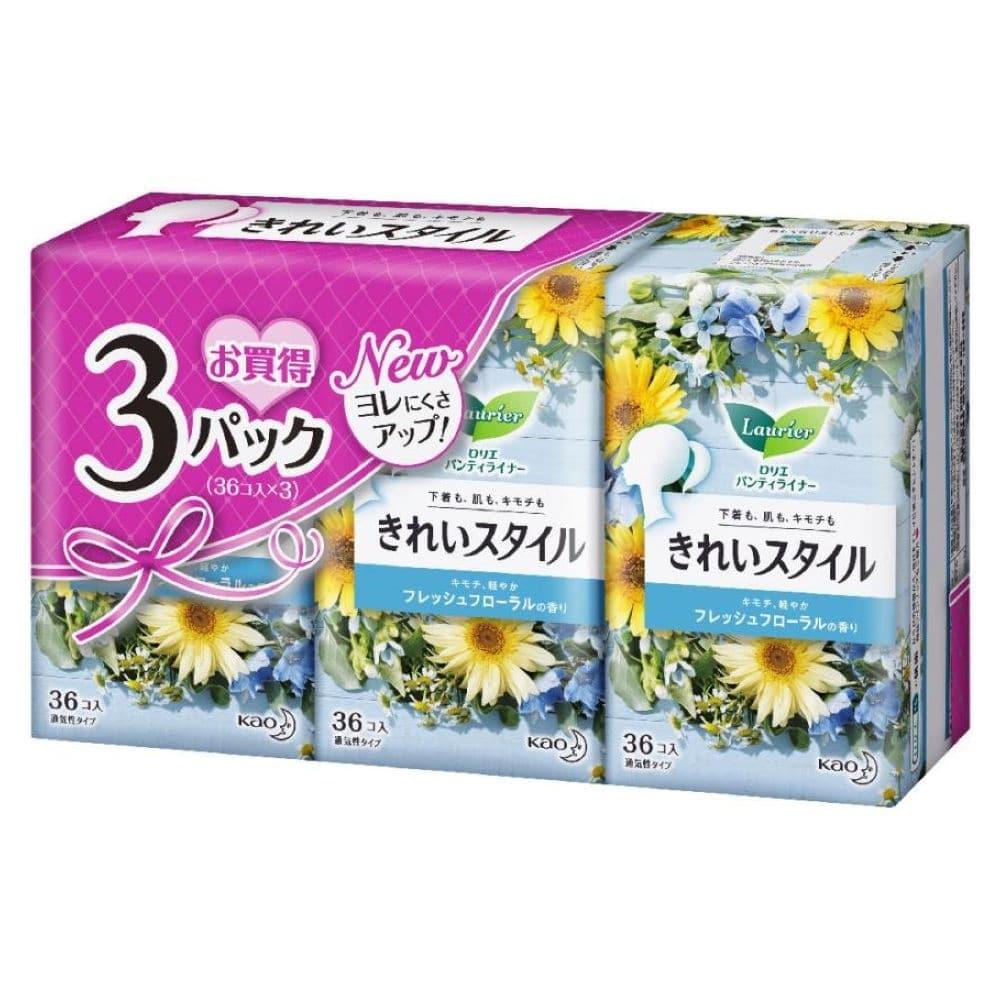 花王 ロリエ パンティライナー きれいスタイル フレッシュフローラルの香り 36個×3パック