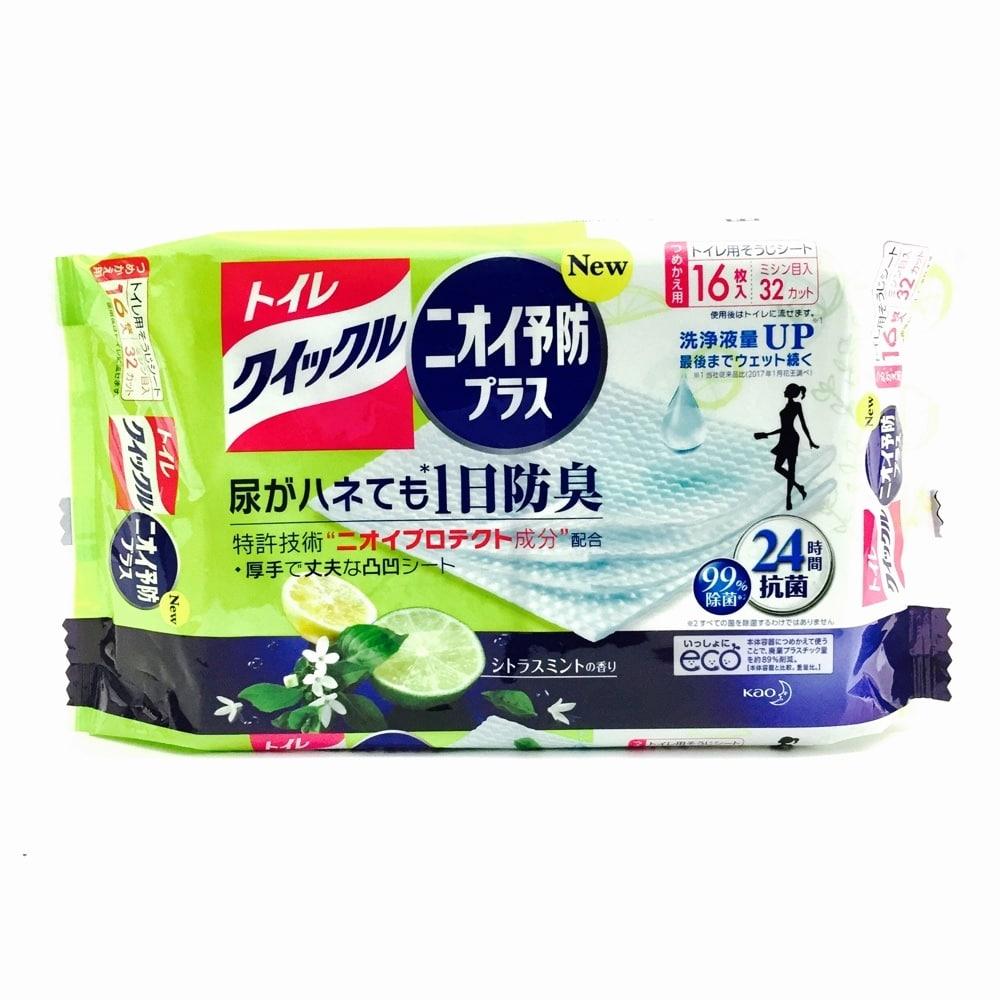 花王 トイレクイックル ニオイ予防プラス シトラスミントの香り つめかえ用 16枚 トイレ用そうじシート