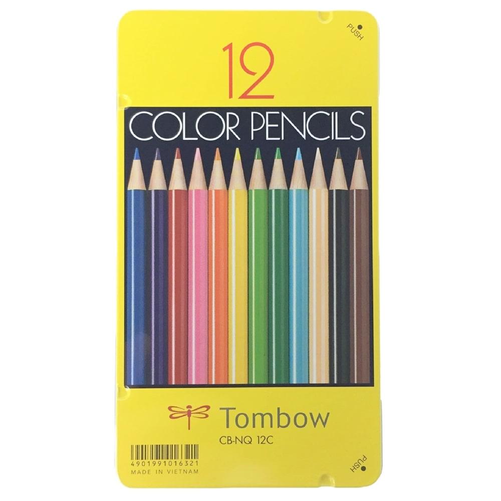 トンボ 色鉛筆黄缶 12色 CB-NQ12C