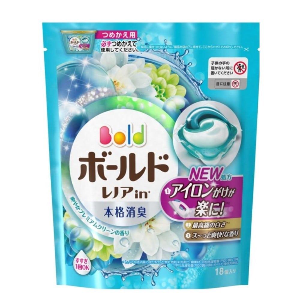【数量限定】P&G ボールド 洗濯洗剤 ジェルボール3D 爽やかプレミアムクリーンの香り 詰替 18個