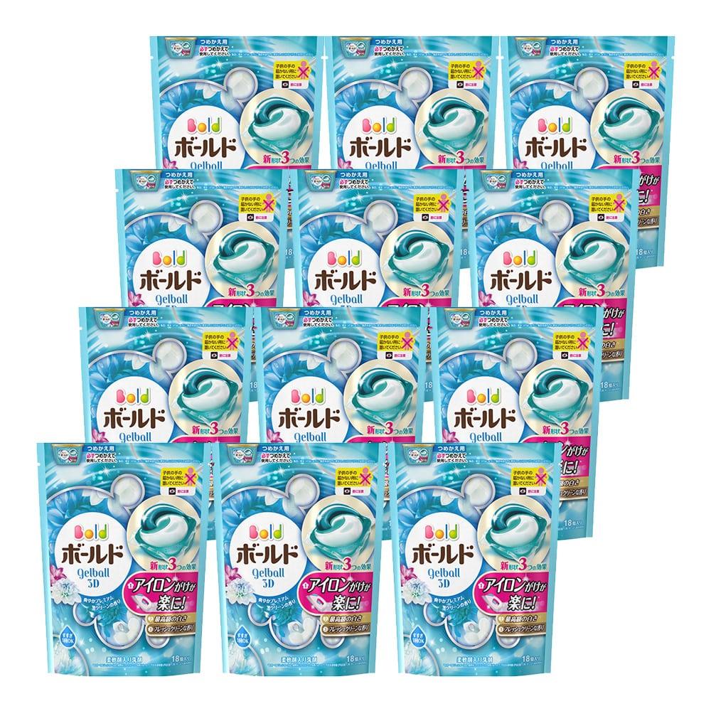 【ケース販売】P&G ボールドジェルボール 3D プレミアムクリーンの香り 詰替18個×12
