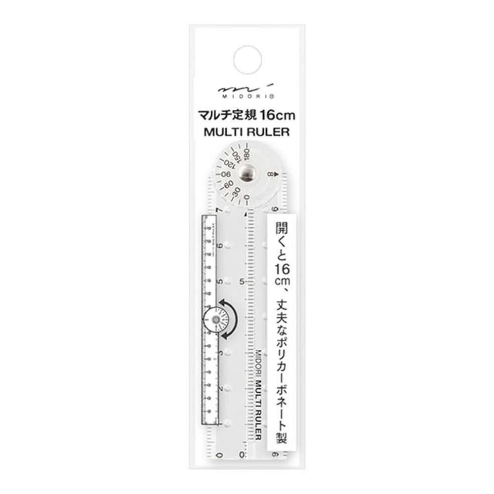 ミドリ デザインフィル マルチ定規 16cm 透明