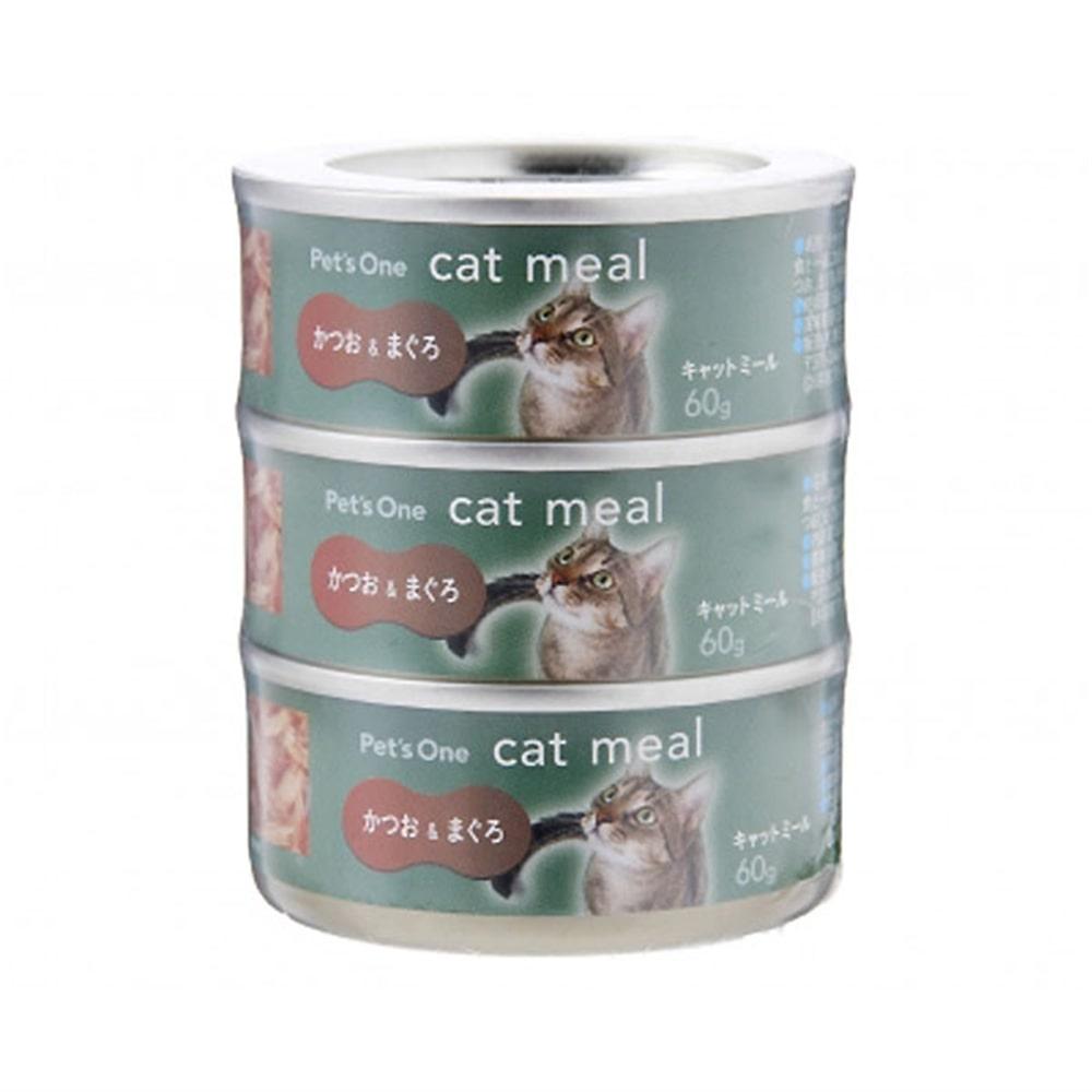 Pet'sOne キャットミール かつお&まぐろ ミニ(60g)3缶パック