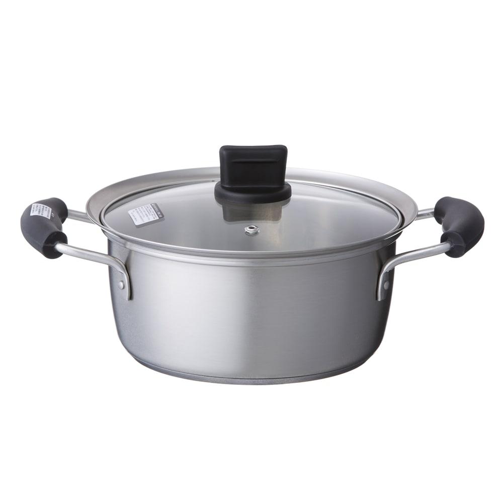 ステンレス三層底ふきこぼれしにくい鍋20cm両手