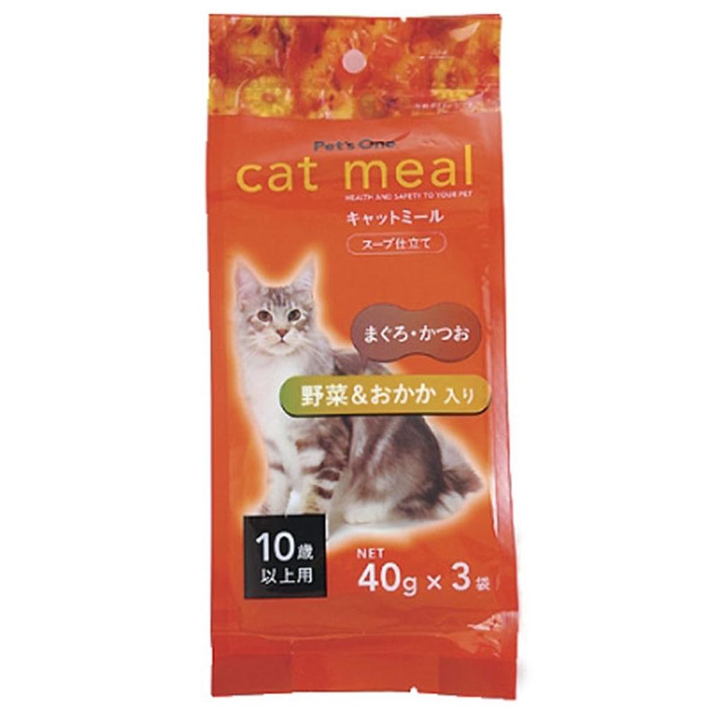 Pet'sOne キャットミール スープ仕立て まぐろ・かつお 野菜&おかか入り 10歳以上用 40g 3袋入り